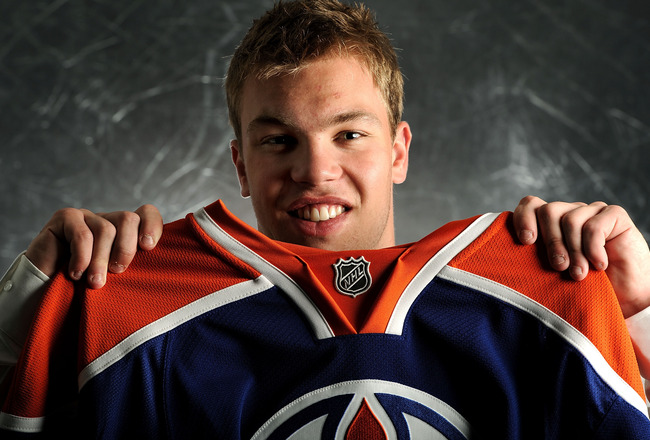 LOS ANGELES, CA - JUNE 25:  Taylor Hall, drafted first overall by the Edmonton Oilers, poses for a portrait during the 2010 NHL Entry Draft at Staples Center on June 25, 2010 in Los Angeles, California.  (Photo by Harry How/Getty Images)