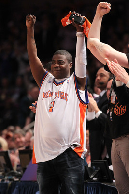 NEW YORK, NY - APRIL 22:  Actor Tracy Morgan reacts as the New York Knicks play against the Boston Celtics in Game Three of the Eastern Conference Quarterfinals in the 2011 NBA Playoffs on April 22, 2011 at Madison Square Garden in New York City. The Celt