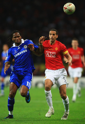 MOSCOW - MAY 21:  Didier Drogba of Chelsea and Rio Ferdinand of Manchester United compete for the ball during the UEFA Champions League Final match between Manchester United and Chelsea at the Luzhniki Stadium on May 21, 2008 in Moscow, Russia.  (Photo by