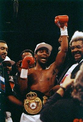 20 Feb 1993:  Michael Nunn celebrates after a bout against Danny Morgan. Mandatory Credit: Holly Stein  /Allsport