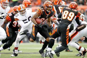 CINCINNATI, OH - DECEMBER 19: Bernard Scott #28 of the Cincinnati Bengals carries the ball against the Cleveland Browns at Paul Brown Stadium on December 19, 2010 in Cincinnati, Ohio.  (Photo by Matthew Stockman/Getty Images)