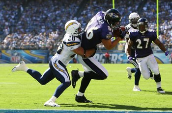 SAN DIEGO - SEPTEMBER 20:  Todd Heap #86 of the Baltimore Ravens catches a pass for a touchdown while being defended by Steve Gregory #28 of the San Diego Chargers in the third quarter at Qualcomm Stadium on September 20, 2009 in San Diego, California. Th