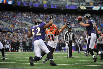 BALTIMORE, MD - JANUARY 2:  Jordan Shipley #11 of the Cincinnati Bengals can't catch this last second of the first half pass against the Baltimore Ravens which was intercepted by Ed Reed #21 of the Ravens at M&T Bank Stadium on January 2, 2011 in Baltimor