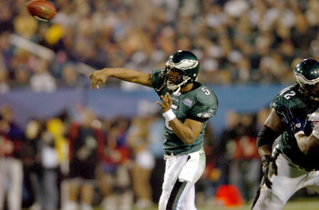 Philadelphia Eagle's Donovan McNabb looks to throw the ball during Super Bowl XXXIX between the Eagles and the New England Patriots at Alltel Stadium in Jacksonville, Florida on February 6, 2005. (Photo by Steve Grayson/Getty Images)