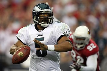GLENDALE, AZ - JANUARY 18:  Quarterback Donovan McNabb #5 of the Philadelphia Eagles looks to throw the ball during the NFC championship game against the Arizona Cardinals on January 18, 2009 at University of Phoenix Stadium in Glendale, Arizona.  (Photo