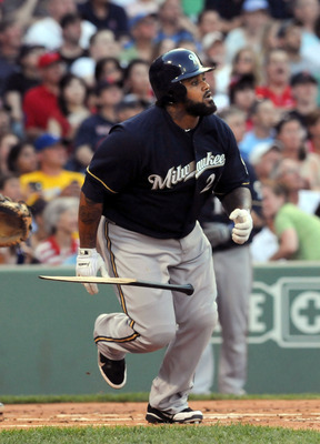 BOSTON, MA - JUNE 18:  Prince Fielder #28 of the Milwaukee Brewers shatters his bat as he flies out during the first inning against the Boston Red Sox at Fenway Park on June 18, 2011 in Boston, Massachusetts. (Photo by Darren McCollester/Getty Images)