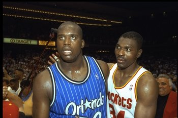 14 Jun 1995:  Center Shaquille O''Neal of the Orlando Magic (left) and Houston Rockets forward Hakeem Olajuwon look on after Game Four of the NBA Finals at the Summit in Houston, Texas.  The Rockets won the game, 113-101. Mandatory Credit: Allsport  /Alls