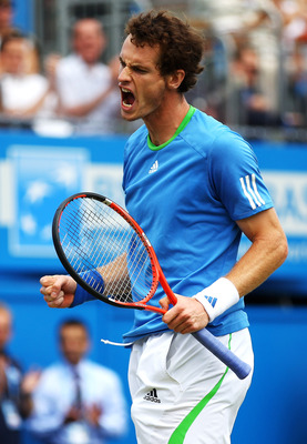 LONDON, ENGLAND - JUNE 13:  Andy Murray of Great Britain celebrates a point during his Men's Singles final against Jo-Wilfred Tsonga of France on day eight of the AEGON Championships at Queens Club on June 13, 2011 in London, England.  (Photo by Clive Bru