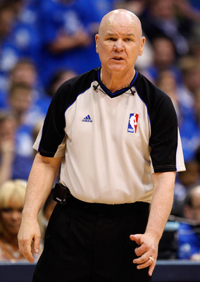 DALLAS, TX - MAY 17:  Referee Joe Crawford looks on while in Game One of the Western Conference Finals during the 2011 NBA Playoffs between the Dallas Mavericks and the Oklahoma City Thunder at American Airlines Center on May 17, 2011 in Dallas, Texas. NO