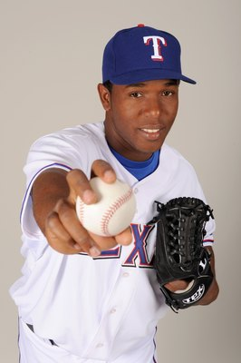 Neftali Feliz in 2009.  Take a good look at the baseball in his right hand—if you face him, this photo is the only time you'll ever see the ball.