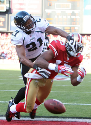 SAN FRANCISCO - NOVEMBER 29:  Derek Cox #21 of the Jacksonville Jaguars breaks up a pass intended for Michael Crabtree #15 of the San Francisco 49ers during the third quarter at Candlestick Park on November 29, 2009 in San Francisco, California. The 49ers