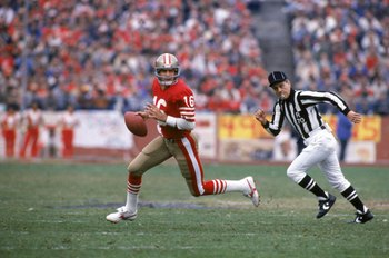 SAN FRANCISCO - JANUARY 6:  Quarterback Joe Montana #16 of the San Francisco 49ers runs with the ball as he looks downfield for a receiver defense during the 1984 NFC Championship Game against the Chicago Bears at Candlestick Park on January 6, 1985 in Sa