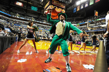 INDIANAPOLIS, IN - APRIL 5:  The Notre Dame Fighting Irish mascot fires up the crowd before the 2011 NCAA Women's Final Four championship game against the Texas A&M Aggies at Conseco Fieldhouse on April 5, 2011 in Indianapolis, Indiana.  (Photo by Jamie S
