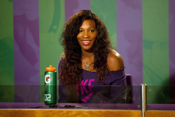 WIMBLEDON, ENGLAND - JUNE 19:  Serena Williams of USA talks to the media at the All England Lawn Tennis and Croquet Club ahead of the Wimbledon Lawn Tennis Championships on June 19, 2011 in London, England. The Championships, which are celebrating their 1