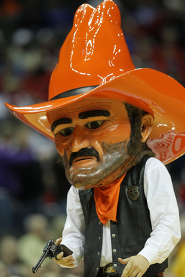 KANSAS CITY, MO - MARCH 09:  Oklahoma State Cowboys mascot Pistol Pete performs during their game against the Nebraska Cornhuskers in the first round of the 2011 Phillips 66 Big 12 Men's Basketball Tournament at Sprint Center on March 9, 2011 in Kansas Ci