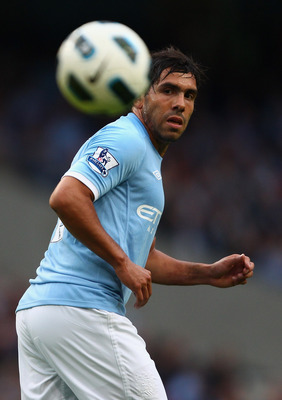 MANCHESTER, ENGLAND - MAY 17:  Carlos Tevez of Manchester City in action during the Barclays Premier League match between Manchester City and Stoke City at City of Manchester Stadium on May 17, 2011 in Manchester, England.  (Photo by Clive Brunskill/Getty