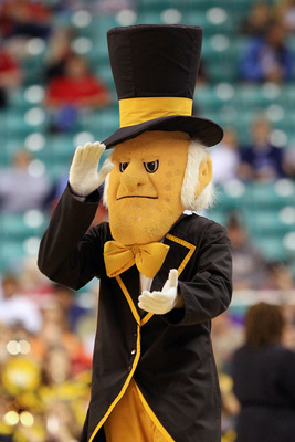 GREENSBORO, NC - MARCH 10:  The Demon Deacon, mascot of Wake Forest, performs during the game between the Wake Forest Demon Deacons and the Boston College Eagles during the first round of the 2011 ACC men's basketball tournament at the Greensboro Coliseum