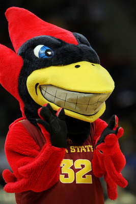 KANSAS CITY, MO - MARCH 09:  Iowa State Cyclones mascot Cy the Cardinal performs during the first round game against the Colorado Buffaloes in the 2011 Phillips 66 Big 12 Men's Basketball Tournament at Sprint Center on March 9, 2011 in Kansas City, Missou