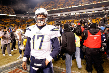 PITTSBURGH - JANUARY 11:  Philip Rivers #17 of the San Diego Chargers stands on the field dejected after they lost 35-24 against the Pittsburgh Steelers during their AFC Divisional Playoff Game on January 11, 2009 at Heinz Field in Pittsburgh, Pennsylvani