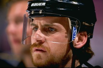 14 Oct 1998:  Rightwinger Rob Brown #44 of the Pittsburgh Penguins looks on during the game against the New Jersey Devils at the Continental Airlines Arena in East Rutherford, New Jersey. The Penguins defeated the Devils 3-1. Mandatory Credit: Al Bello  /