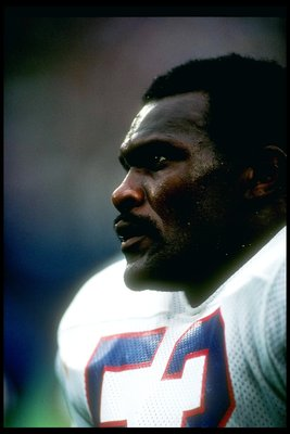 20 Sep 1987:  Linebacker Harry Carson of the New York Giants looks on during a game against the Dallas Cowboys at Giants Stadium in East Rutherford, New Jersey.  The Cowboys won the game, 16-14. Mandatory Credit: T. G. Higgins  /Allsport