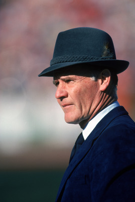 SAN FRANCISCO - JANUARY 10:  Head coach Tom Landry of the Dallas Cowboys watches from the sideline during a game against the San Francisco 49ers at Candlestick Park on January 10, 1982 in San Francisco, California. Tom Landry coached the Cowboys from 1960