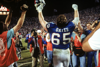 TAMPA, FL - JANUARY 27:  Center Bart Oates #65 of the New York Giants celebrates following the game against the Buffalo Bills during Super Bowl XXV at Tampa Stadium on January 27, 1991 in Tampa, Florida. The Giants defeated the Bills 20-19.  (Photo by Geo