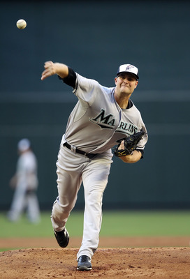 PHOENIX, AZ - MAY 30:  Starting pitcher Chris Volstad #41 of the Florida Marlins pitches against the Arizona Diamondbacks during the Major League Baseball game at Chase Field on May 30, 2011 in Phoenix, Arizona.  The Diamondbacks defeated the Marlins 15-4