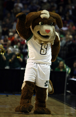 SPOKANE, WA - MARCH 19:  The mascot of the Siena Saints performs during a timeout against the Purdue Boilermakers during the first round of the 2010 NCAA men's basketball tournament at Spokane Arena on March 19, 2010 in Spokane, Washington.  (Photo by Jon