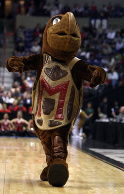 SPOKANE, WA - MARCH 19:  The Maryland Terrapins mascot performs during a pause in the action against the Houston Cougars during the first round of the 2010 NCAA menÕs basketball tournament at Spokane Arena on March 19, 2010 in Spokane, Washington.  (Photo