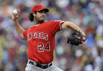 MINNEAPOLIS, MN - MAY 29: Dan Haren #24 of the Los Angeles Angels of Anaheim pitches against the Minnesota Twins during the first inning of their game on May 29, 2011 at Target Field in Minneapolis, Minnesota. (Photo by Hannah Foslien/Getty Images)
