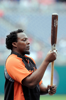 WASHINGTON, DC - JUNE 17:  Vladimir Guerrero #27 of the Baltimore Orioles warms up before the game against the Washington Nationals at Nationals Park on June 17, 2011 in Washington, DC.  (Photo by Greg Fiume/Getty Images)