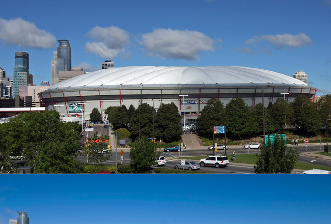 MINNEAPOLIS, MN - DECEMBER 12:  This photo composite shows Hubert H. Humphrey Metrodome, Mall of America Stadium before (above) and after it's inflatable roof collapsed under the weight of snow and during a storm Sunday morning December 12, 2010 in Minnea