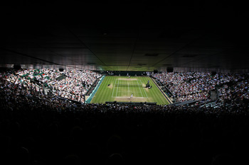 LONDON, ENGLAND - JULY 01:  A general view of Centre Court during the Ladies Semi Final match between Tsvetana Pironkova of Bulgaria and Vera Zvonareva of Russia on Day Ten of the Wimbledon Lawn Tennis Championships at the All England Lawn Tennis and Croq