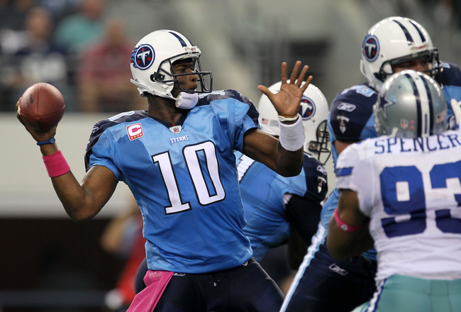 ARLINGTON, TX - OCTOBER 10:  Quarteback Vince Young #10 of the Tennessee Titans throws a pass against the Dallas Cowboys at Cowboys Stadium on October 10, 2010 in Arlington, Texas.  The Titans won 34-27.  (Photo by Stephen Dunn/Getty Images)