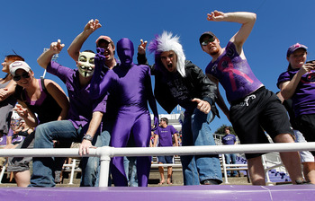 FORT WORTH, TX - OCTOBER 16:  TCU Horned Frogs fans fill the stands as TCU takes to the field against the BYU Cougars at Amon G. Carter Stadium on October 16, 2010 in Fort Worth, Texas.  TCU beat BYU 31-3.  (Photo by Tom Pennington/Getty Images)