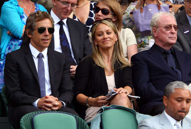 LONDON, ENGLAND - JUNE 30:  (L-R)  Ben Stiller, Christine Taylor and Sir Michael Caine on Day Nine of the Wimbledon Lawn Tennis Championships at the All England Lawn Tennis and Croquet Club on June 30, 2010 in London, England.  (Photo by Clive Brunskill/G