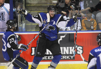 MISSISSAUGA, CANADA - MAY 29: Simon Despres #47 of the saint John Sea Dogs celebrates his goal against the Mississauga St. Michael's Majors in the 2011 CHL Memorial Cup final on May 29, 2011 at the Hershey Centre in Mississauga, Canada. (Photo by Claus An