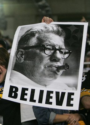 DETROIT - FEBRUARY 05: A fan of the Pittsburgh Steelers holds up an image of Art Rooney following the Steelers 21-10 win over the Seattle Seahawks in Super Bowl XL at Ford Field on February 5, 2006 in Detroit, Michigan. (Photo by Andy Lyons/Getty Images)