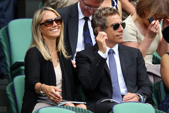 LONDON, ENGLAND - JUNE 30:  Christine Taylor and Ben Stiller on Day Nine of the Wimbledon Lawn Tennis Championships at the All England Lawn Tennis and Croquet Club on June 30, 2010 in London, England.  (Photo by Julian Finney/Getty Images)