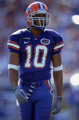 27 Oct 2001:  Jabar Gaffney #10 of the Florida Gators walks out on the field during the game against the Georgia Bulldogs at the Alltel Stadium in Jacksonville, Florida.  The Gators defeated the Bulldogs 24-10.Mandatory Credit: Andy Lyons /Allsport