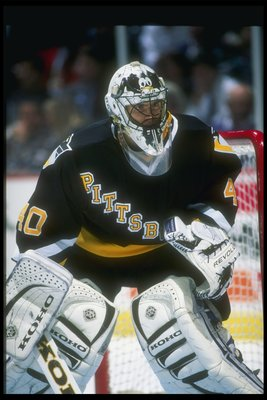11 Dec 1996:  Goaltender Patrick Lalime of the Pittsburgh Penguins looks on during a game against the Anaheim Mighty Ducks at Arrowhead Pond in Anaheim, California.  The Penguins won the game, 7-3. Mandatory Credit: Glenn Cratty  /Allsport