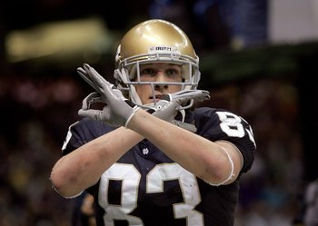 NEW ORLEANS - JANUARY 03:  Jeff Samardzija #83 of the Notre Dame Fighting Irish celebrates his touchdown in the second quarter of the 2007 Allstate Sugar Bowl against the LSU Tigers on January 3, 2007 at the Superdome in New Orleans, Louisiana.  (Photo by