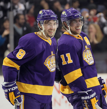 LOS ANGELES, CA - FEBRUARY 24:  Drew Doughty (L) #8 and Anze Kopitar #11 of the Los Angeles Kings celebrate Kopitar's third period goal against the Minnesota Wild at Staples Center on February 24, 2011 in Los Angeles, California. The Kings defeated the Wi