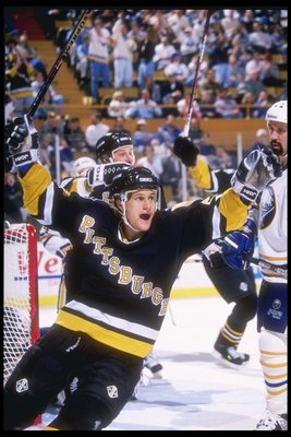3 Nov 1995:  Leftwinger Markus Naslund of the Pittsburgh Penguins celebrates during a game against the Buffalo Sabres at the Memorial Auditorium in Buffalo, New York.  The game was a tie, 3-3. Mandatory Credit: Rick Stewart  /Allsport