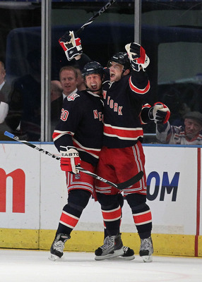 NEW YORK - MARCH 18:  Marian Gaborik #10 of the New York Rangers celebrates a goal with Vinny Prospal #20 against  the Montreal Canadiens during their game on March 18, 2011 at Madison Square Garden in New York City, New York.  (Photo by Al Bello/Getty Im