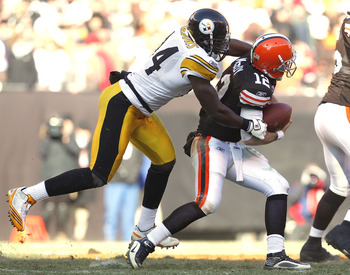 CLEVELAND, OH - JANUARY 02:  Linebacker Lawrence Timmons #94 of the Pittsburgh Steelers sacks quarterback Colt McCoy #12 of the Cleveland Browns at Cleveland Browns Stadium on January 2, 2011 in Cleveland, Ohio.  (Photo by Matt Sullivan/Getty Images)