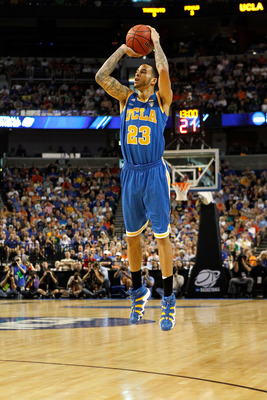 TAMPA, FL - MARCH 19:  Tyler Honeycutt #23 of the UCLA Bruins attempts a shot agaisnt the Florida Gators during the third round of the 2011 NCAA men's basketball tournament at St. Pete Times Forum on March 19, 2011 in Tampa, Florida. Florida won 73-65. (P