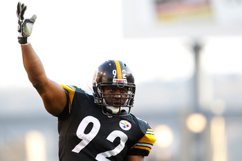 PITTSBURGH - NOVEMBER 21: James Harrison #92 of the Pittsburgh Steelers pumps up the crowd during the game against the Oakland Raiders on November 21, 2010 at Heinz Field in Pittsburgh, Pennsylvania.  (Photo by Jared Wickerham/Getty Images)