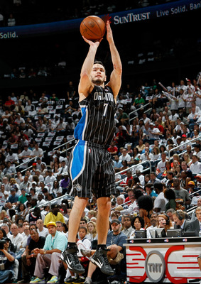 ATLANTA, GA - APRIL 24:  J.J. Redick #7 of the Orlando Magic against the Atlanta Hawks during Game Four of the Eastern Conference Quarterfinals in the 2011 NBA Playoffs at Philips Arena on April 24, 2011 in Atlanta, Georgia.  NOTE TO USER: User expressly